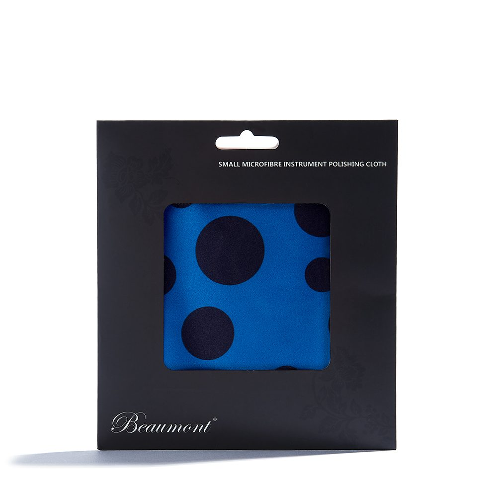 beaumont microfibre flute cleaning cloth blue polka dot 2